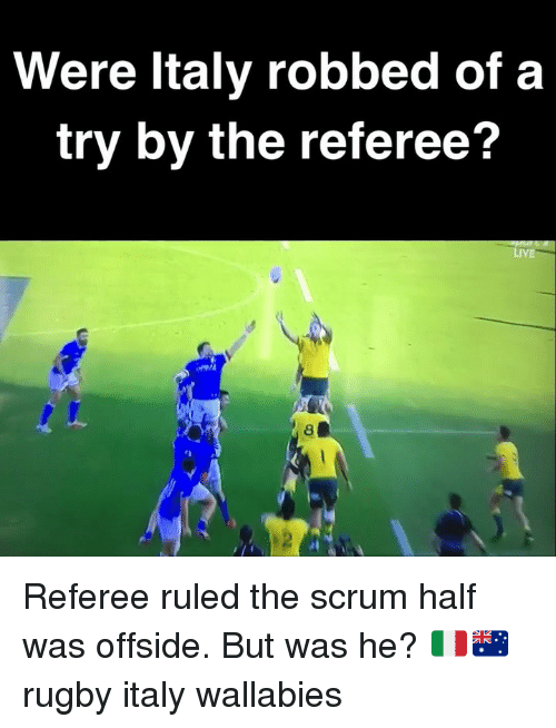 Live, Rugby, and Italy: Were ltaly robbed of a  try by the referee?  LiVE  2 Referee ruled the scrum half was offside. But was he? 🇮🇹🇦🇺 rugby italy wallabies