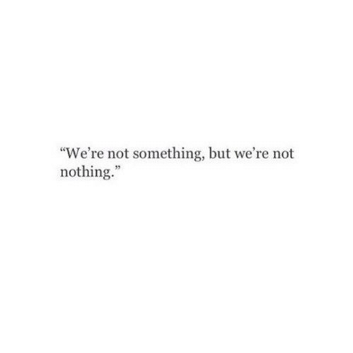 "Nothing, Were, and  Something: ""We're not something, but we're not  nothing."""