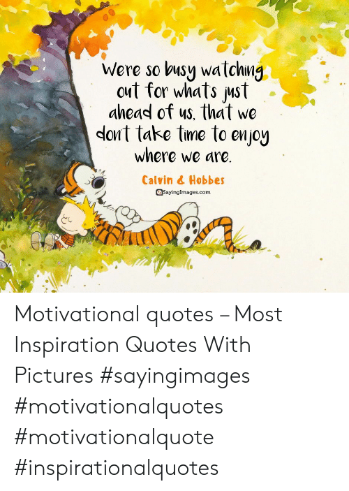 Pictures, Quotes, and Inspiration: Were so busy watchng  out for whats ust  ahead of us, that we  dont take tme to enjoy  where we are.  Calvin & Hobbes  Sayinglmages.com Motivational quotes – Most Inspiration Quotes With Pictures #sayingimages #motivationalquotes #motivationalquote #inspirationalquotes