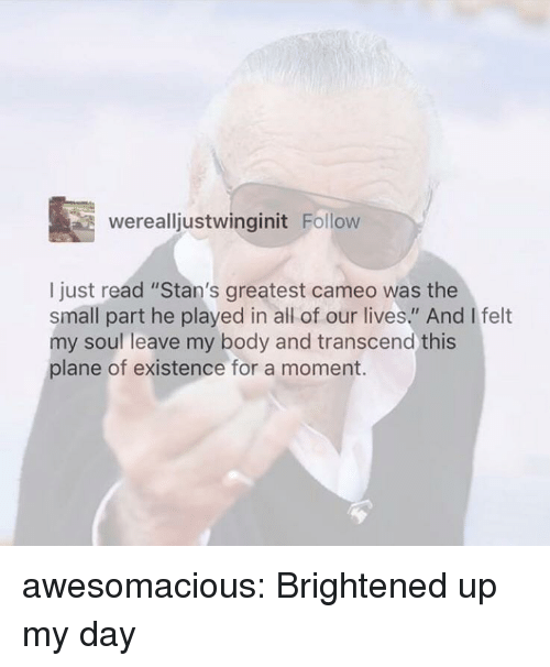 "Stans: werealljustwinginit Follow  I just read ""Stan's greatest cameo was the  small part he played in all of our lives."" And I felt  my soul leave my body and transcend this  plane of existence for a moment. awesomacious:  Brightened up my day"