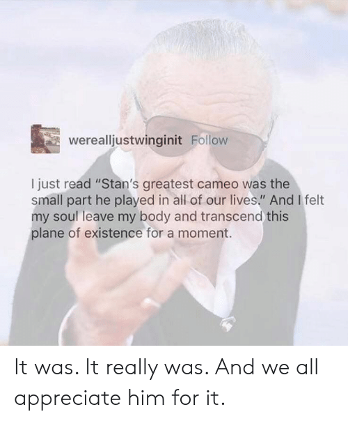 "Stans: werealljustwinginit Follow  I just read ""Stan's greatest cameo was the  small part he played in all of our lives."" And I felt  my soul leave my body and transcend this  plane of existence for a moment. It was. It really was. And we all appreciate him for it."