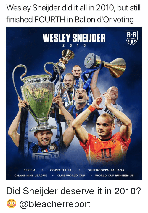 Ballon: Wesley Sneijder did it all in 2010, but still  finished FOURTH in Ballon d'Or voting  B R  FOOTBALL  SERIE A  , COPPA ITALIA ,  SUPERCOPPA ITALIANA  CHAMPIONS LEAGUE  CLUB WORLD CUP  ·  WORLD CUP RUNNER-UP Did Sneijder deserve it in 2010? 😳 @bleacherreport