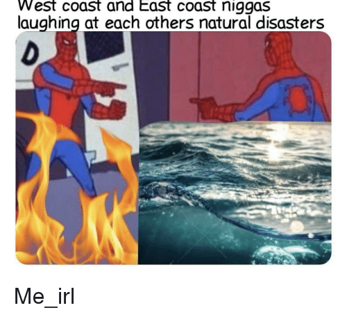 West Coast, Irl, and Me IRL: West coast and East coast niggas  laughing at each others natural disasters Me_irl