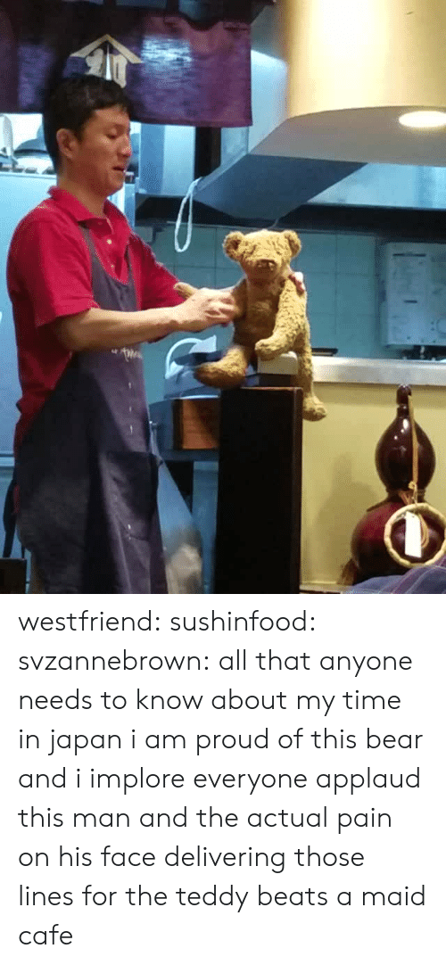 Target, Tumblr, and Bear: westfriend:  sushinfood:  svzannebrown: all that anyone needs to know about my time in japan i am proud of this bear and i implore everyone applaud this man and the actual pain on his face delivering those lines for the teddy  beats a maid cafe