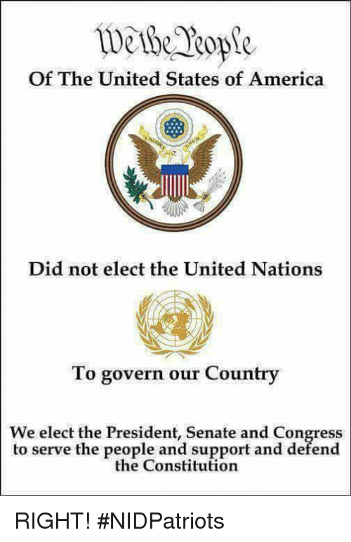 America, Memes, and Constitution: wethk Rope  Of The United States of America  Did not elect the United Nations  To govern our Country  We elect the President, Senate and Congress  to serve the people and support and defend  the Constitution RIGHT! #NIDPatriots