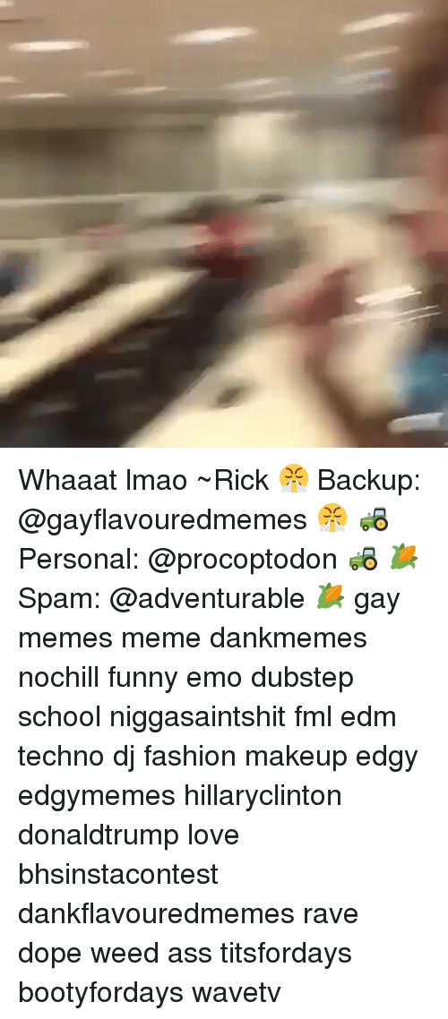 Funny Emo: Whaaat lmao ~Rick 😤 Backup: @gayflavouredmemes 😤 🚜 Personal: @procoptodon 🚜 🌽Spam: @adventurable 🌽 gay memes meme dankmemes nochill funny emo dubstep school niggasaintshit fml edm techno dj fashion makeup edgy edgymemes hillaryclinton donaldtrump love bhsinstacontest dankflavouredmemes rave dope weed ass titsfordays bootyfordays wavetv