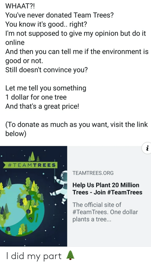 Good, Help, and Link: WHAAT?!  You've never donated Team Trees?  You know it's good.. right?  I'm not supposed to give my opinion but do it  online  And then you can tell me if the environment is  good or not.  Still doesn't convince you?  Let me tell you something  1 dollar for one tree  And that's a great price!  (To donate as much as you want, visit the link  below)  #TEAMTREES  TEAMTREES.O RG  Help Us Plant 20 Million  Trees Join #TeamTrees  The official site of  #TeamTrees . One dollar  plants a tree... I did my part 🌲