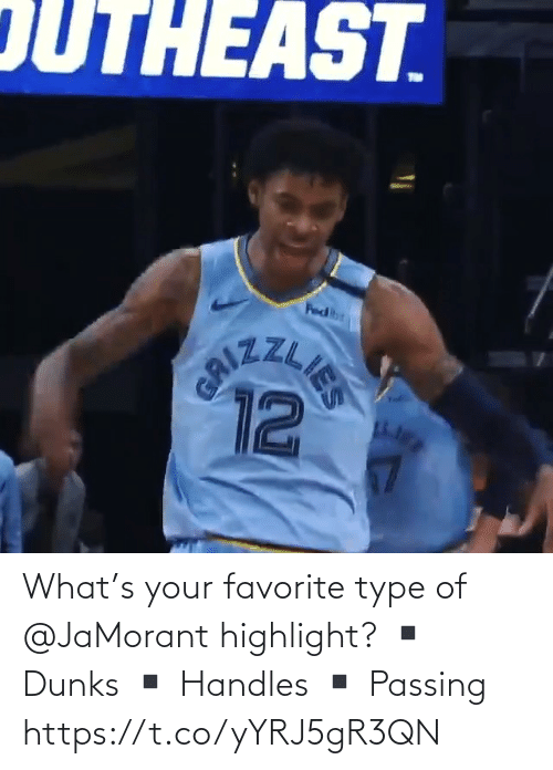 🤖: What's your favorite type of @JaMorant highlight?   ▪️ Dunks ▪️ Handles  ▪️ Passing    https://t.co/yYRJ5gR3QN