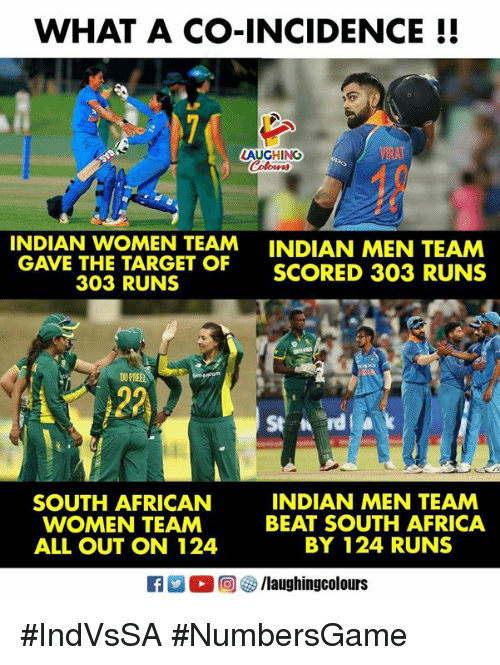 Africa, South Africa, and Women: WHAT A CO-INCIDENCE!!  LAUGHING  INDIAN WOMEN TEAM  ARET  INDIAN MEN TEAM  SCORED 303 RUNS  SCORED 303 RUNS  303 RUNS  OU PREE  St rd  SOUTH AFRICAN  WOMEN TEAM  ALL OUT ON 124  INDIAN MEN TEAM  BEAT SOUTH AFRICA  BY 124 RUNS #IndVsSA #NumbersGame