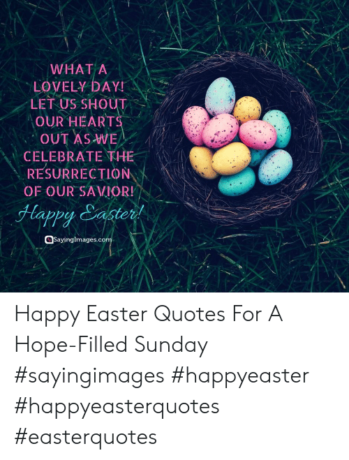 Happy Easter Quotes: WHAT A  LOVELY DAY  LET US SHOUT  OUR HEARTS  OUT AS WE  CELEBRATE THE  RESURRECTION  OF OUR SAVIOR!  Happy Sastert  Sayinglmages.co Happy Easter Quotes For A Hope-Filled Sunday #sayingimages #happyeaster #happyeasterquotes #easterquotes