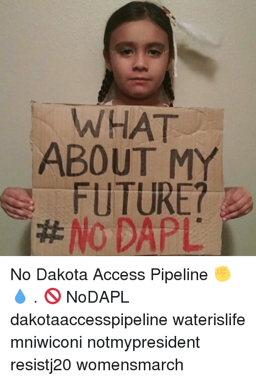 Memes, 🤖, and Pipeline: WHAT  ABOUT M  FUTURE?  No DAPL No Dakota Access Pipeline ✊💧 . 🚫 NoDAPL dakotaaccesspipeline waterislife mniwiconi notmypresident resistj20 womensmarch