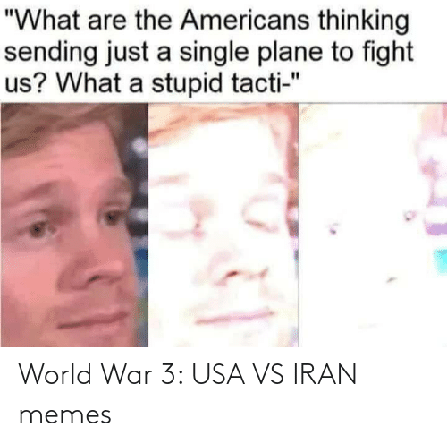 "americans: ""What are the Americans thinking  sending just a single plane to fight  us? What a stupid tacti-"" World War 3: USA VS IRAN memes"