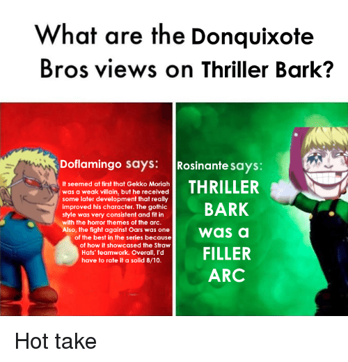 Thriller, Best, and Villain: What are the Donquixote  Bros views on Thriller Bark?  Doflamingo says: Rosinante says:  It seemed at first that Gekko Moriah  was a weak villain, but he received  some later development that really  improved his character. The gothic  style was very consistent and fit in  with the horror themes of the arc.  so, the fight against Oars was one  of the best in the series because  i as a  of how it showcased the Straw  Hats' teamwork. Overall, I'd  have to rate it a solid 8/10.  ARC