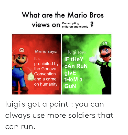 What Are The Mario Bros Views On Children And Elderly Conscripting