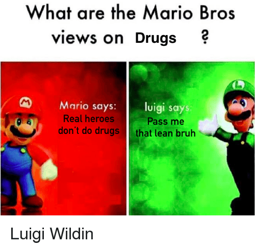 Bruh, Drugs, and Funny: What are the Mario Bros  views on Drugs  Mario sa  uigi says  Real heroes  don't do drugs  Pass me  that lean bruh