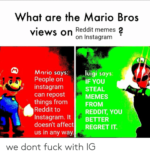 What Are The Mario Bros Views On Reddit Memes 2 On Instagram