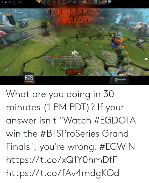 "what are: What are you doing in 30 minutes (1 PM PDT)? If your answer isn't ""Watch #EGDOTA win the #BTSProSeries Grand Finals"", you're wrong. #EGWIN  https://t.co/xQ1Y0hmDfF https://t.co/fAv4mdgKOd"