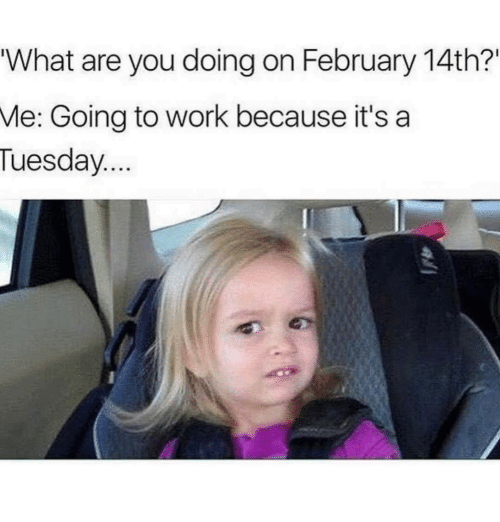 "Memes, 🤖, and Are You Doing: ""What are you doing on February 14th?""  Me: Going to work because it's a  Tuesday"