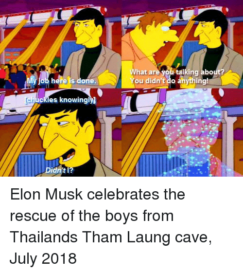 Thailand, Boys, and Elon Musk: What are  you talking abo  here is done  ou didn't do anything  ckles knowingly Elon Musk celebrates the rescue of the boys from Thailands Tham Laung cave, July 2018