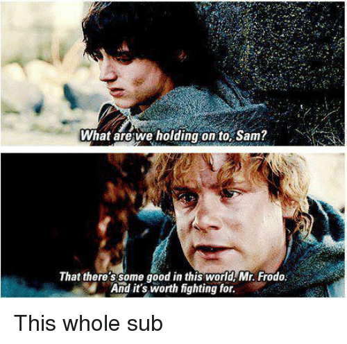 Good, World, and Sam: What arewe holding on to, Sam?  That there'ssome good in this world Mr. Frodo  And it's worth fighting for. <p>This whole sub</p>