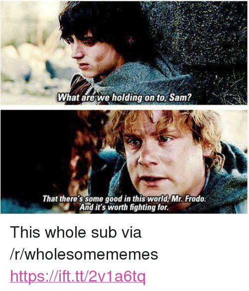 "Good, World, and Sam: What arewe holding on to, Sam?  That there'ssome good in this world Mr. Frodo  And it's worth fighting for. <p>This whole sub via /r/wholesomememes <a href=""https://ift.tt/2v1a6tq"">https://ift.tt/2v1a6tq</a></p>"