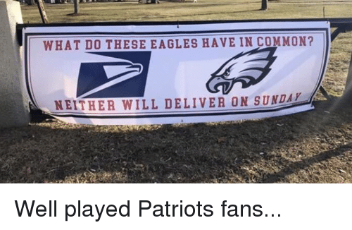 Philadelphia Eagles, Nfl, and Patriotic: WHAT D0 THESE EAGLES HAVE IN COMMON?  NEITHER WILL DELIVER ON SUNDA Well played Patriots fans...