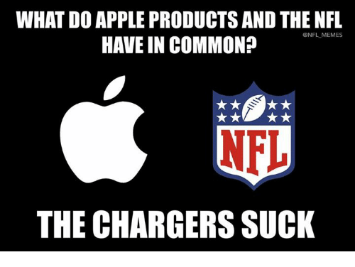 Apple, Memes, and Nfl: WHAT DO APPLE PRODUCTS AND THE NFL  HAVE IN COMMON?  @NFL MEMES  THE CHARGERS SUCK