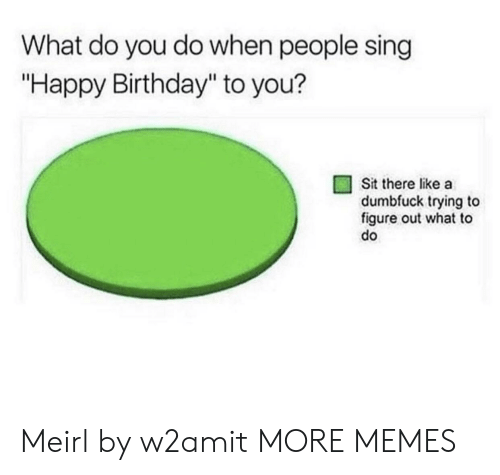 "Birthday, Dank, and Memes: What do you do when people sing  ""Happy Birthday"" to you?  Sit there like a  dumbfuck trying to  figure out what to  do Meirl by w2amit MORE MEMES"