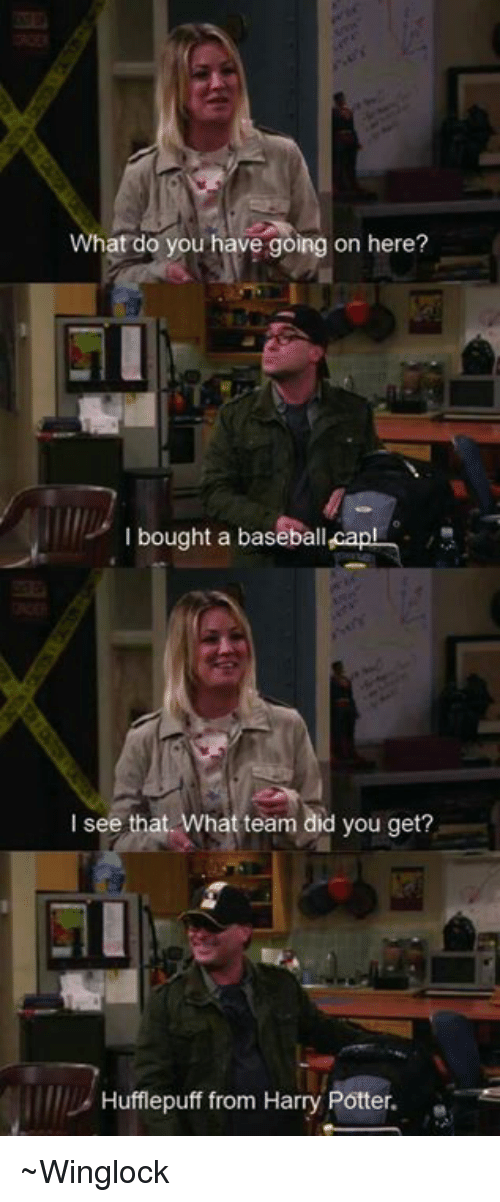 Baseballisms: What do you have going on here?  l bought a baseball capl  I see that  What team did you get?  Hufflepuff from Harry Potter. ~Winglock
