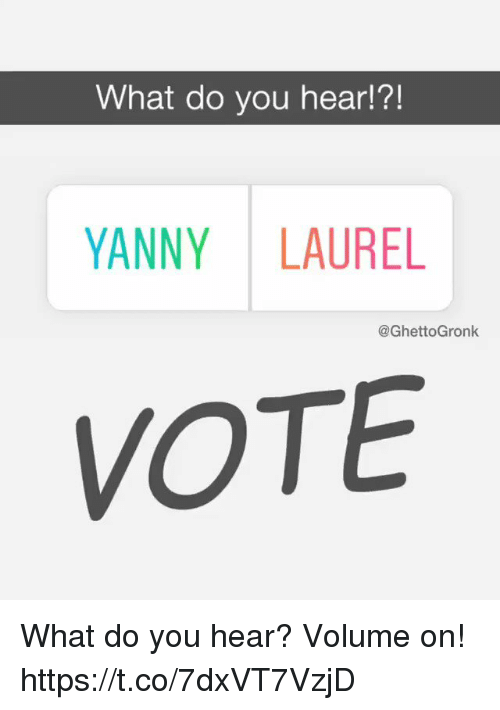 Football, Nfl, and Sports: What do you hear!?!  YANNY LAUREL  @GhettoGronk  VOTE What do you hear? Volume on! https://t.co/7dxVT7VzjD