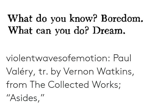 "Target, Tumblr, and Blog: What do you know? Boredom.  What can you do? Dream. violentwavesofemotion:  Paul Valéry, tr. by Vernon Watkins, from The Collected Works; ""Asides,"""