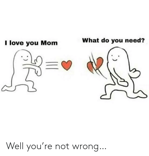 what do: What do you need?  I love you Mom Well you're not wrong…
