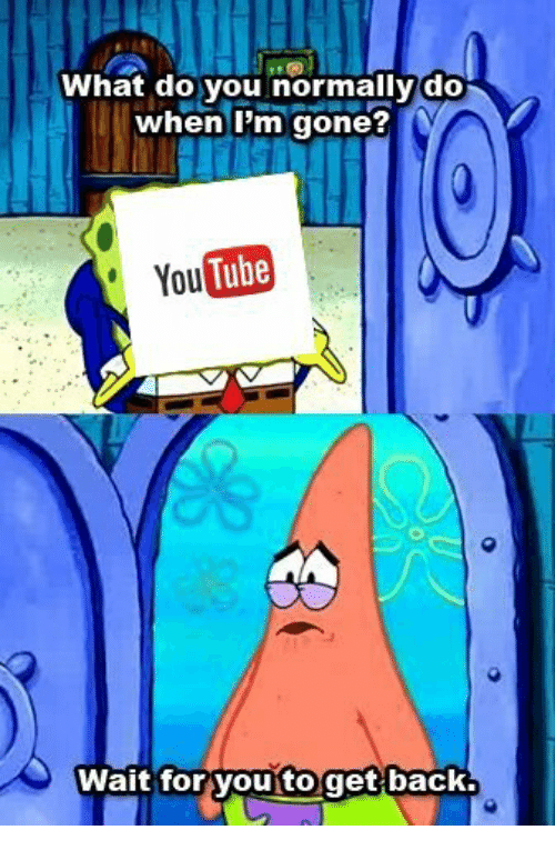 Tube, You Tube, and Back: What do you normally do  when Im gone?  You Tube  Wait for youtoget back