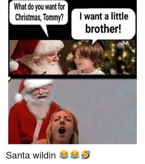 Christmas, Memes, and Santa: What do you want for  Christmas,Tommy? I want a little  brother! Santa wildin 😂😂🤣