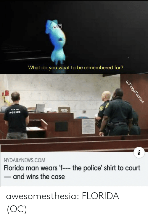 You What: What do you what to be remembered for?  POLICE  NYDAILYNEWS.COM  Florida man wears 'f--- the police' shirt to court  - and wins the case  u/PingaPandaa awesomesthesia:  FLORIDA (OC)