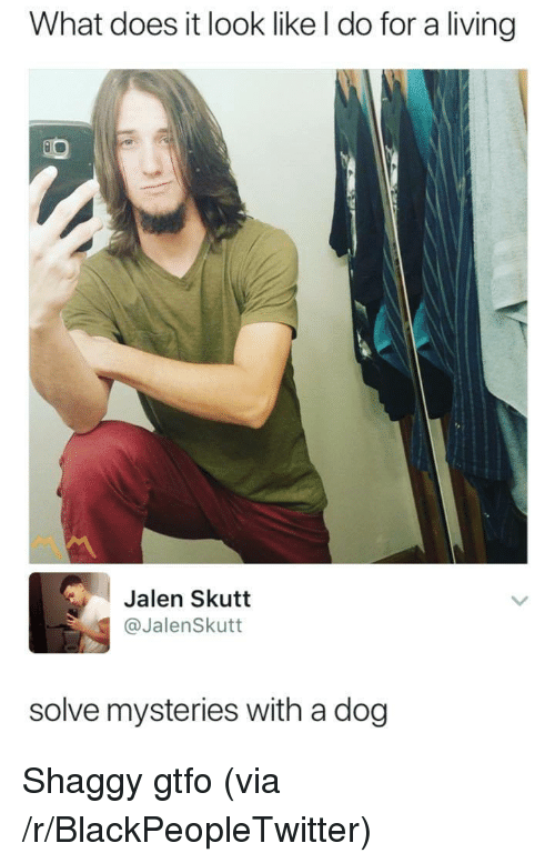 Blackpeopletwitter, What Does, and Living: What does it look like l do for a living  Jalen Skutt  @JalenSkutt  solve mysteries with a dog <p>Shaggy gtfo (via /r/BlackPeopleTwitter)</p>
