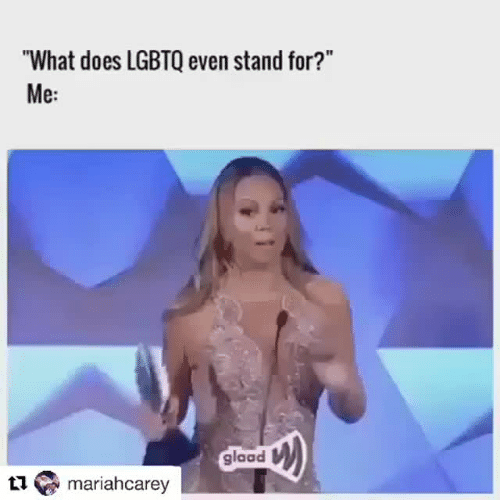 "What Does, Glaad, and What: ""What does LGBTQ even stand for?""  Me:  glaad  mariahcarey"