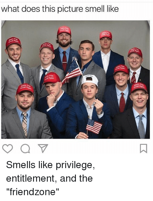 "Memes, 🤖, and Privileged: what does this picture smell like Smells like privilege, entitlement, and the ""friendzone"""