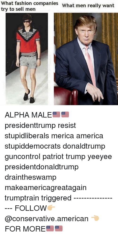 America, Fashion, and Memes: What fashion companies what men really want  try to sell men ALPHA MALE🇺🇸🇺🇸 presidenttrump resist stupidliberals merica america stupiddemocrats donaldtrump guncontrol patriot trump yeeyee presidentdonaldtrump draintheswamp makeamericagreatagain trumptrain triggered ------------------ FOLLOW👉🏼 @conservative.american 👈🏼 FOR MORE🇺🇸🇺🇸