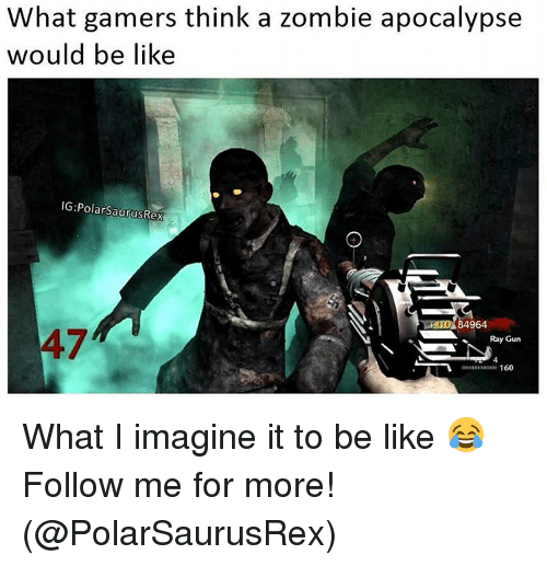 zombi: What gamers think a zombie apocalypse  would be like  IG: PolarSaurusRex  84964  Ray Gun  160 What I imagine it to be like 😂 Follow me for more! (@PolarSaurusRex)