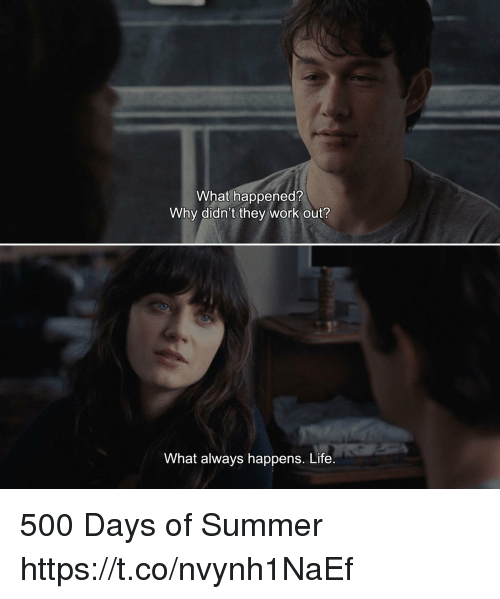 Life, Memes, and Work: What happened?  Why didn't they work out?  What always happens. Life 500 Days of Summer https://t.co/nvynh1NaEf