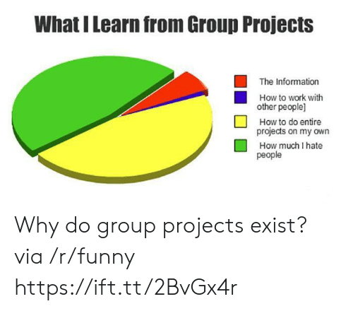 Group Projects: What I Learn from Group Projects  The Information  How to work with  other people]  How to do entire  projects on my own  How much I hate  people Why do group projects exist? via /r/funny https://ift.tt/2BvGx4r