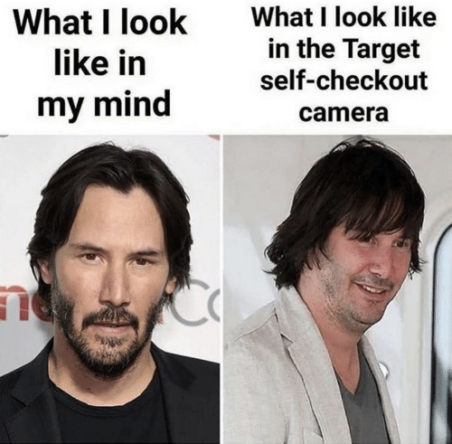 Target, Camera, and Mind: What I look like  in the Target  self-checkout  What I look  like in  my mind  camera