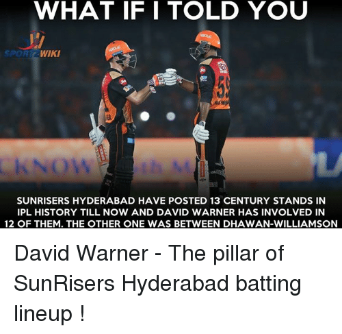 Memes, History, and Wiki: WHAT IF I TOLD YOU  SPOR  WIKI  SUNRISERS HYDERABAD HAVE POSTED 13 CENTURY STANDS IN  IPL HISTORY TILL NOW AND DAVID WARNER HAS INVOLVED IN  12 OF THEM. THE OTHER ONE WAS BETWEEN DHAWAN-WILLIAMSON David Warner - The pillar of SunRisers Hyderabad batting lineup !