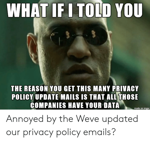 Imgur, Reason, and Annoyed: WHAT IF I TOLD YOU  THE REASON YOU GET THIS MANY PRIVACY  POLICY UPDATE MAILS IS THAT ALL THOSE  COMPANIES HAVE YOUR DATA  made on imgur Annoyed by the Weve updated our privacy policy emails?
