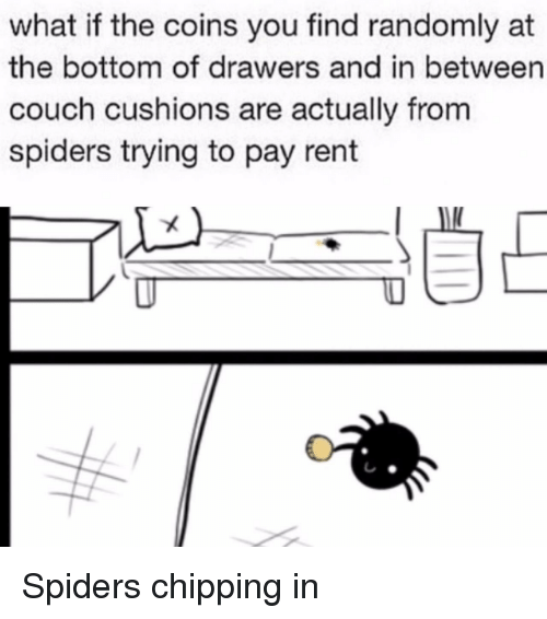 drawers: what if the coins you find randomly at  the bottom of drawers and in between  couch cushions are actually from  spiders trying to pay rent <p>Spiders chipping in</p>