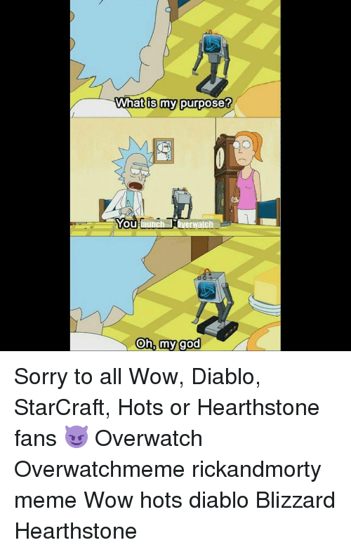 StarCraft: What is my purpose?  You une  Overwatch  Oh, my god Sorry to all Wow, Diablo, StarCraft, Hots or Hearthstone fans 😈 Overwatch Overwatchmeme rickandmorty meme Wow hots diablo Blizzard Hearthstone