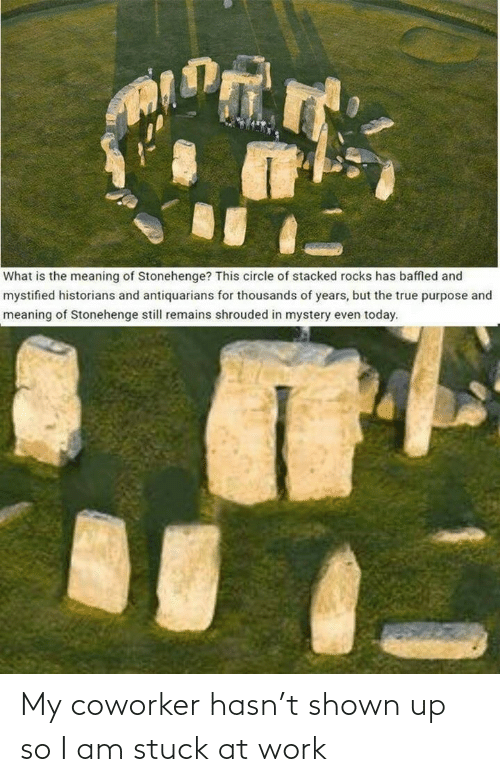 What Is: What is the meaning of Stonehenge? This circle of stacked rocks has baffled and  mystified historians and antiquarians for thousands of years, but the true purpose and  meaning of Stonehenge still remains shrouded in mystery even today. My coworker hasn't shown up so I am stuck at work