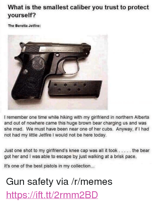 "Memes, Bear, and Best: What is the smallest caliber you trust to protect  yourself?  The Beretta Jetfire:  洛  I remember one time while hiking with my girlfriend in northern Alberta  and out of nowhere came this huge brown bear charging us and was  she mad. We must have been near one of her cubs. Anyway, if I had  not had my little Jetfire I would not be here today.  Just one shot to my girlfriend's knee cap was all it took... .the bear  got her and I was able to escape by just walking at a brisk pace  It's one of the best pistols in my collection.. <p>Gun safety via /r/memes <a href=""https://ift.tt/2rmm2BD"">https://ift.tt/2rmm2BD</a></p>"