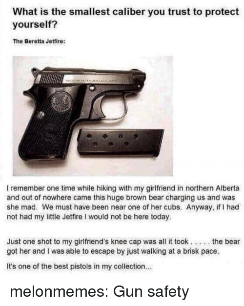 Tumblr, Bear, and Best: What is the smallest caliber you trust to protect  yourself?  The Beretta Jetfire:  洛  I remember one time while hiking with my girlfriend in northern Alberta  and out of nowhere came this huge brown bear charging us and was  she mad. We must have been near one of her cubs. Anyway, if I had  not had my little Jetfire I would not be here today.  Just one shot to my girlfriend's knee cap was all it took... .the bear  got her and I was able to escape by just walking at a brisk pace  It's one of the best pistols in my collection.. melonmemes:  Gun safety